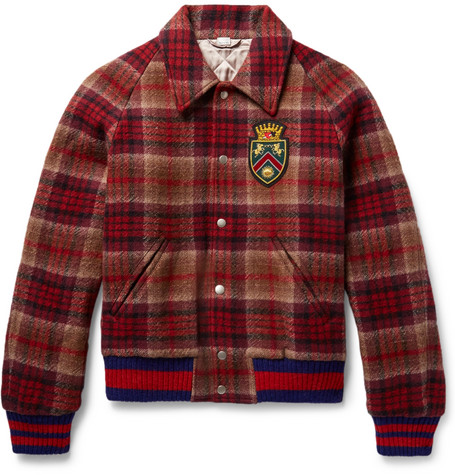Gucci AppliquÉD Checked Wool And Cotton-Blend Felt Bomber Jacket In Red