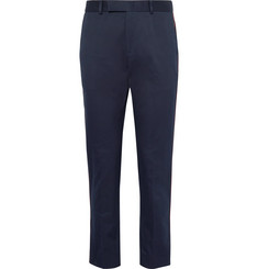 Gucci Slim-Fit Tapered Webbing-Trimmed Cotton-Twill Trousers