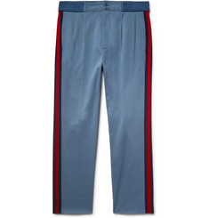 Gucci Webbing-Trimmed Stretch-Cotton Twill Trousers