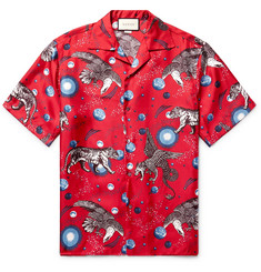 Gucci Space Animals Camp-Collar Printed Silk-Twill Shirt