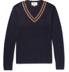 Gucci Webbing-Trimmed Wool Sweater