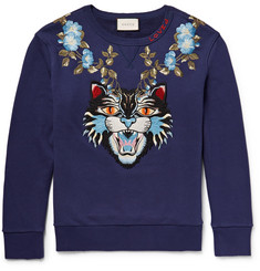 Gucci Angry Cat Embroidered Loopback Cotton-Jersey Sweatshirt