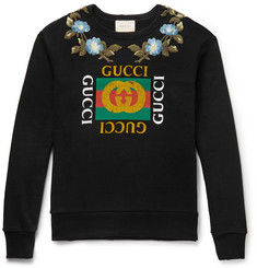 Gucci Embellished Printed Loopback Cotton-Jersey Sweatshirt