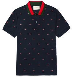 Gucci Slim-Fit Panther-Embroidered Stretch-Cotton Piqué Polo Shirt