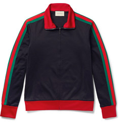 Gucci Embroidered Jersey Zip-Through Sweatshirt