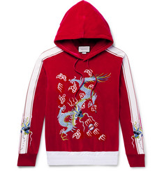 Gucci Satin-Trimmed Embroidered Cotton-Blend Velvet Hoodie