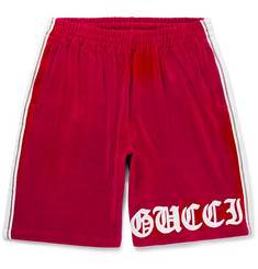 Gucci Embroidered Cotton-Blend Velvet Drawstring Shorts