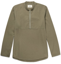 Folk Mandarin-Collar Cotton-Twill and Jersey Half-Zip Shirt