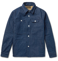 Freemans Sporting Club Faux Shearling-Lined Washed-Denim Shirt Jacket