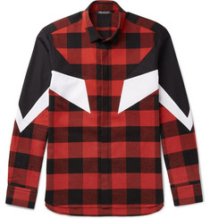 Neil Barrett Poplin-Panelled Checked Cotton-Flannel Shirt