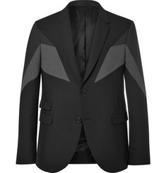 Neil Barrett Black Slim-Fit Panelled Gabardine Blazer