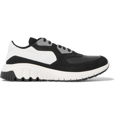 Neil Barrett Runner City Embellished Leather and Nubuck Sneakers