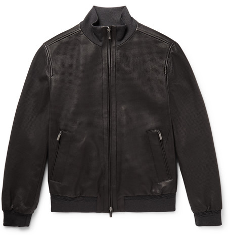Reversible Perforated Leather And Shell Bomber Jacket - Black