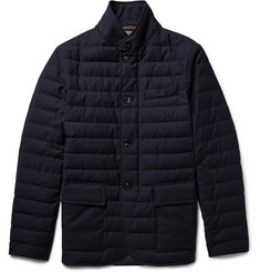 Ermenegildo Zegna Slim-Fit Leather-Trimmed Quilted Wool Down Jacket