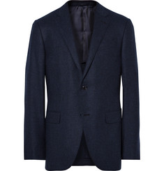Ermenegildo Zegna Blue Slim-Fit Micro-Checked Wool and Cashmere-Blend Blazer