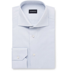 Ermenegildo Zegna Grey Slim-Fit Cutaway-Collar Cotton Shirt