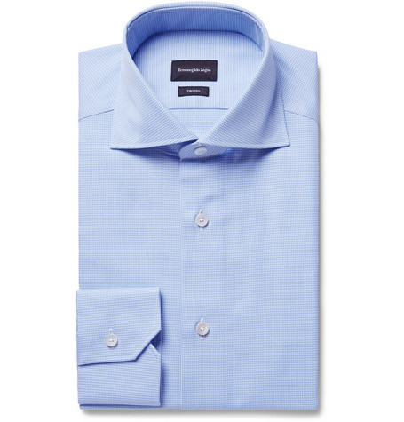 Ermenegildo Zegna Cottons BLUE SLIM-FIT CUTAWAY-COLLAR PUPPYTOOTH COTTON SHIRT