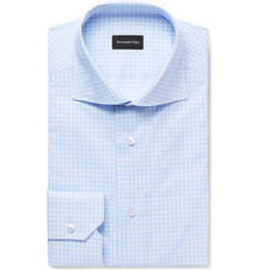 Ermenegildo Zegna Blue Cutaway-Collar Checked Cotton-Poplin Shirt