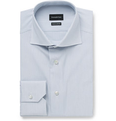 Ermenegildo Zegna - Blue Slim-Fit Cutaway-Collar Striped Cotton-Poplin Shirt