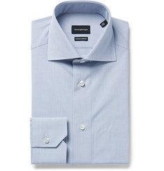Ermenegildo Zegna - Blue Slim-Fit Cutaway-Collar Checked Cotton-Poplin Shirt