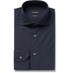 Ermenegildo Zegna - Midnight-Blue Slim-Fit Cutaway-Collar Cotton-Poplin Shirt