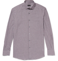 Ermenegildo Zegna Slim-Fit Cutaway-Collar Checked Cotton Shirt