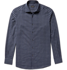 Ermenegildo Zegna Slim-Fit Windowpane-Checked Cotton Shirt