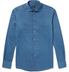 Ermenegildo Zegna - Slim-Fit Cutaway-Collar Denim Shirt