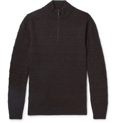 Ermenegildo Zegna Nubuck-Trimmed Striped Cashmere Half-Zip Sweater