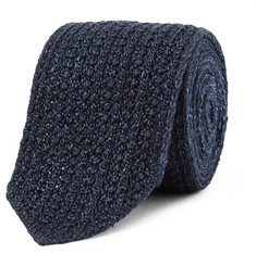 Ermenegildo Zegna 6cm Reversible Mélange Knitted Silk and Wool-Blend Tie