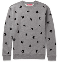 McQ Alexander McQueen - Flocked Loopback Cotton-Jersey Sweatshirt