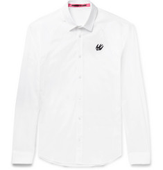 McQ Alexander McQueen Harness Appliquéd Stretch-Cotton Poplin Shirt