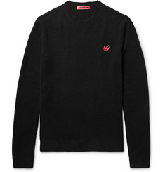 McQ Alexander McQueen Slim-Fit Appliquéd Wool and Cashmere-Blend Sweater