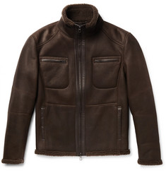 Loro Piana Leather-Trimmed Nubuck Shearling Jacket