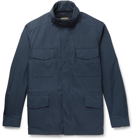 Loro Piana Traveller Cashmere-lined Windmate Storm System Field Jacket In Navy