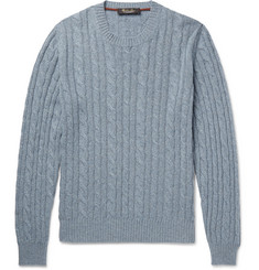 Loro Piana - Slim-Fit Cable-Knit Mélange Baby Cashmere Sweater