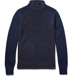 Loro Piana Ribbed Mélange Cashmere Coarsehair Zip-Up Sweater