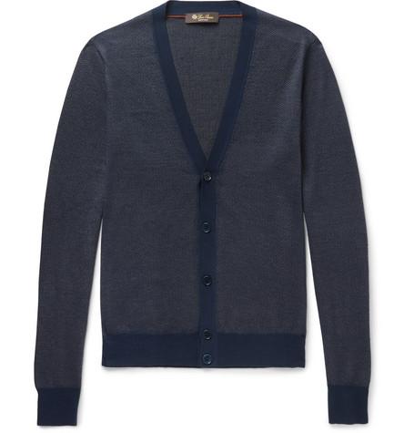 Loro Piana Cashmere, Virgin Wool And Silk-blend Cardigan In Navy