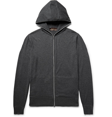 Loro Piana Cotton And Cashmere-blend Zip-up Hoodie In Charcoal