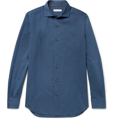 Loro Piana Alains Cutaway-Collar Herringbone Cotton Shirt