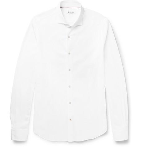 Loro Piana Andrew Slim-fit Cutaway-collar Cotton-piquÉ Shirt