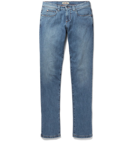 Tasche Slim-fit Washed-denim Jeans - Indigo