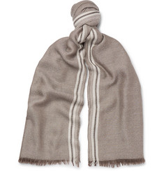 Loro Piana - Fringed Striped Cashmere and Silk-Blend Scarf