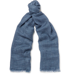 Loro Piana Herringbone Cashmere and Silk-Blend Scarf