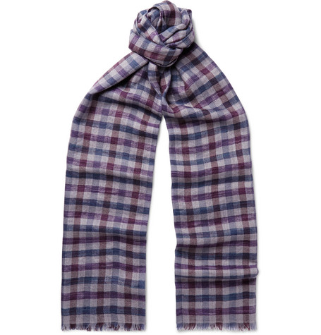 Loro Piana Fringed Checked Cashmere And Silk-Blend Scarf - Multi - One Siz