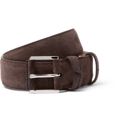 Loro Piana - 3.5cm Taupe Maine Alligator-Trimmed Suede Belt