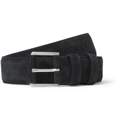 Loro Piana 3.5cm Navy Maine Alligator-Trimmed Suede Belt