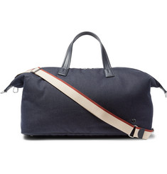 Loro Piana Voyager Leather-Trimmed Denim Holdall