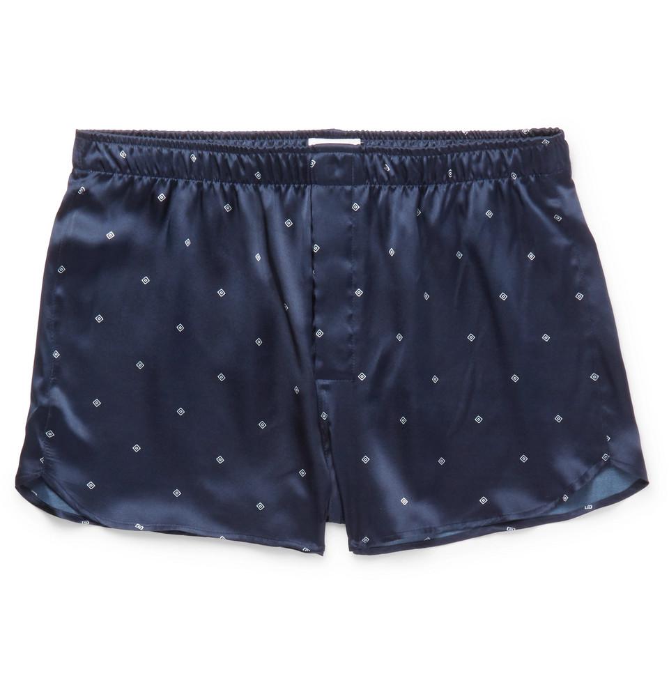 Brindisi Printed Silk-satin Boxer Shorts - Navy