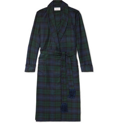 Derek Rose - Black Watch Checked Wool-Twill Robe